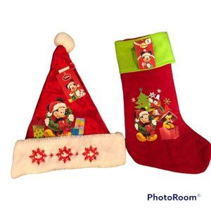 Disney Mickey And Friends Santa Christmas Hat And Stocking